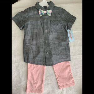 Toddler Boys' 2pc Striped Shirt & Bottom Set